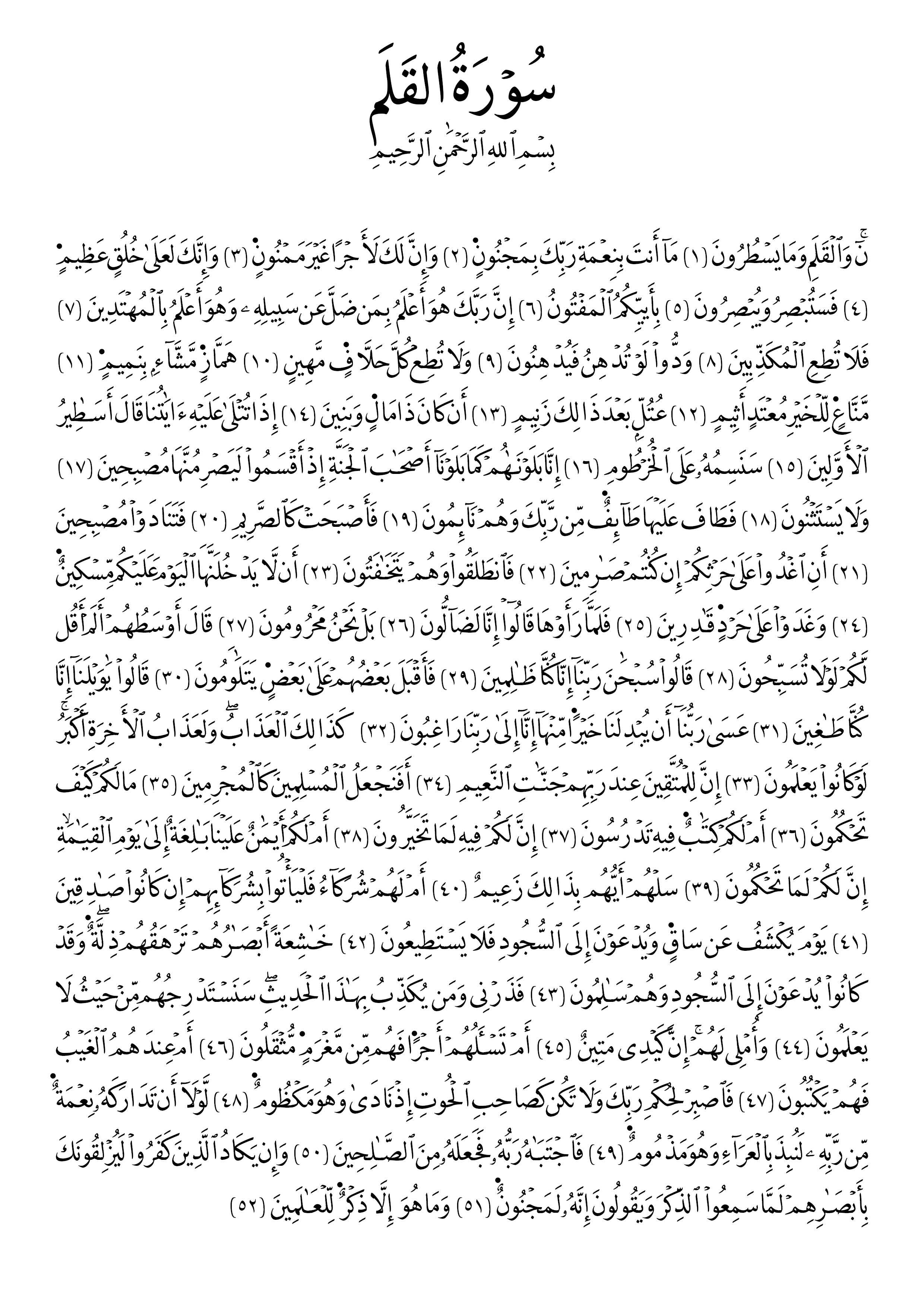 Free Islamic Calligraphy Al Qalam 68 1 52