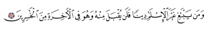 Al-'Imran 3, 85
